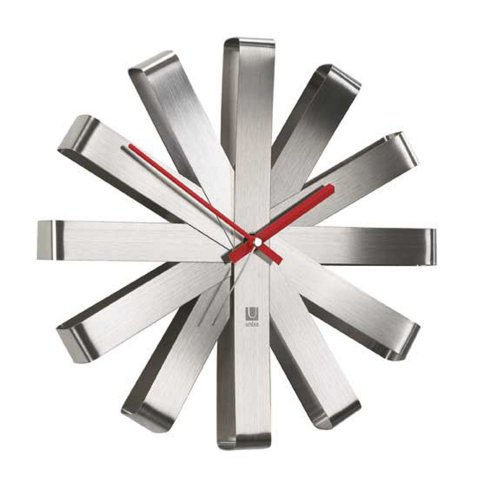 Modern Stainless Steel Ribbons Wall Clock with Red Hands