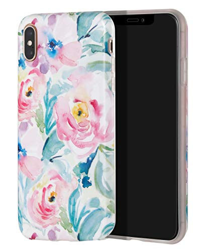SunshineCases【Compatible: Apple iPhone Xs/X(Watercolor Flower Blossom Print) Flexible, Thin, Soft Rubber, Protective TPU Case Design for Women & Girls (Pink Tropical Floral)