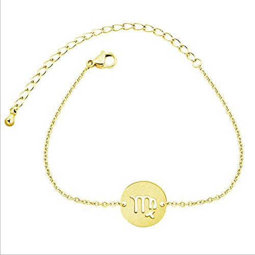 ZHIRCEKE Stainless Steel Constellation Bracelet Women Astrology Gold Capricorn Aquarius Fish Zodiac Sign Charm BFF Gift, Gemini, Color Gold,Gold,4