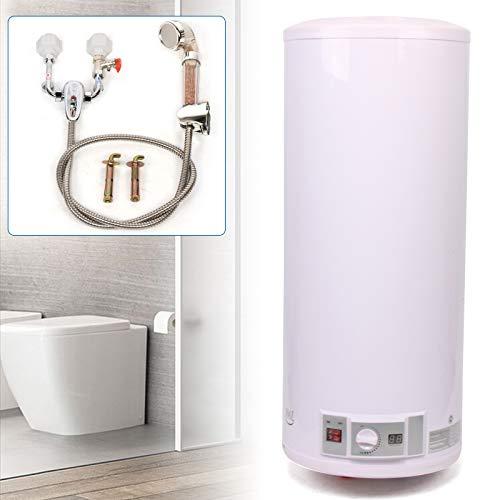 ROMYIX Calentador de Agua eléctrico de 2KW con Ducha, Calentador de Agua eléctrico de 100L Calentador de Agua de Almacenamiento de Tanque de Caldera para Cocina, baño
