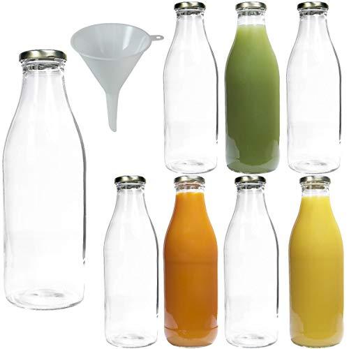 Viva Haushaltswaren #34767# 8 x Weithals-Glasflasche 1000 ml mit goldfarbenem Schraubverschluss, als Milchflasche, Saftflasche & Smoothieflasche verwendbar (inkl. Trichter Ø 9,5 cm)