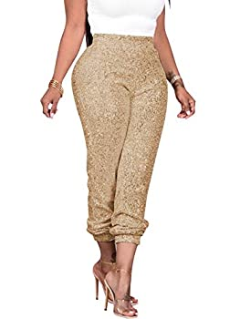 nqgsntc Women s Shiny Sequin Lined Pants Party Club Sexy High Waist Glitter Leggings S Gold