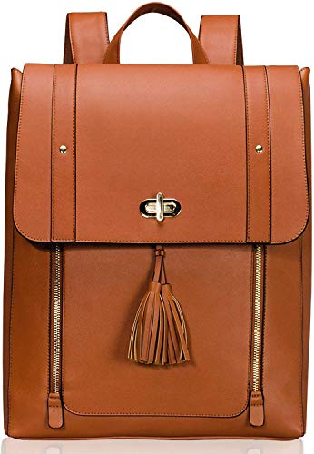 Estarer Women PU Leather Backpack 15.6inch Laptop Vintage College School Rucksack Bag(brown)