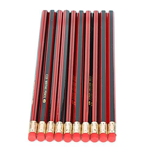 Lápiz de grafito escolar, 10 lápices de dibujo fáciles de usar con borrador, lápices afilados para la clase de arte en la escuela para estudiantes y niños(2B (with rubber))