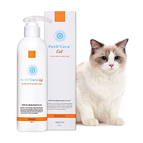 Breezytail PetO'Cera Cat Shampoo | Body Wash for Cat Bath - Hypoallergenic Feline Skincare Shampoo | Skin, Coat & Fur Care Shampoo for Cats | Veterinarian Approved and Formulated Shampoo for Cats