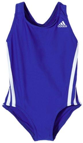 adidas Mädchen Schwimmanzug I 3S, Blau/Weiß, 116, Z29264