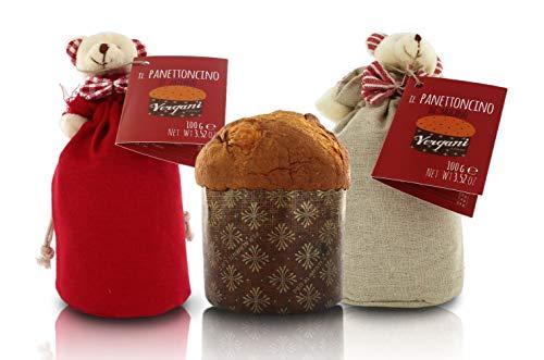 Vergani Panettone Classico di Milano, ricetta Tradizionale, Formato Mignon, in Sacchetto di Tessuto con Orsetto o Renna - 100g (Confezione da 2 Pezzi)