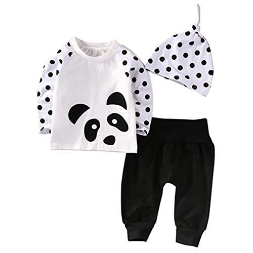 Baywell Automne Infantile Enfants Panda Ronde T-Shirt à Manches Longues Pantalon Chapeau Trois Pièces