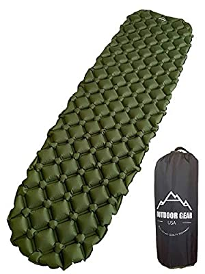 Outdoor Gear USA Camping Sleeping Pad Inflatable, Ultra-Lightweight (14.5 Ounces) Air Mattress for Backpacking, Hiking, Traveling - Durable, Waterproof, Portable & Compact Sleeping Mat