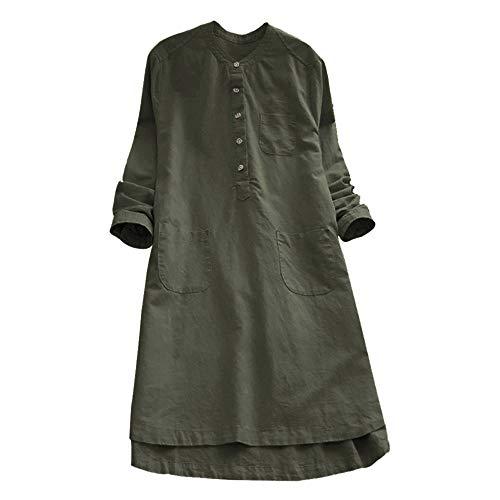 VEMOW Heißer Elegante Damen Frauen Retro Langarm Casual Lose Täglichen Party Tunika Taste Tops Bluse Mini Shirt Kleid(Y2-Armeegrün, 46 DE / 2XL CN)