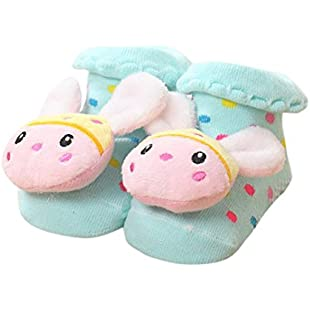 Customer reviews Newborn Baby Girls Boys Socks, LILICAT Anti-Slip Socks Cute Cartoon Cotton Slipper Bell Shoes Boots 0-12 Months Multi-Color Optional (G):Peliculas-gratis