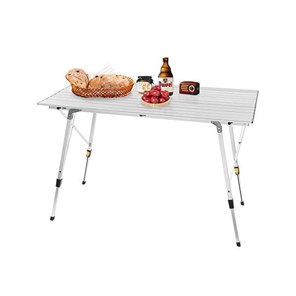 WOLTU CPT8132sb Tavolo da Campeggio Pieghevole Portatile per Picnic Giardino Altezza Regolabile in Alluminio 120x68,5x59/78,5 cm 5 spesavip