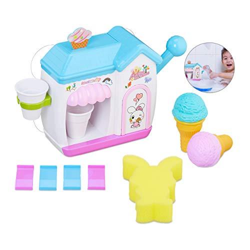 Relaxdays 10027904 Schaumeismaschine Badewanne, für Kinder ab 3 Jahren, erzeugt Badeschaum, Kunststoff, Badewannenspielzeug, bunt