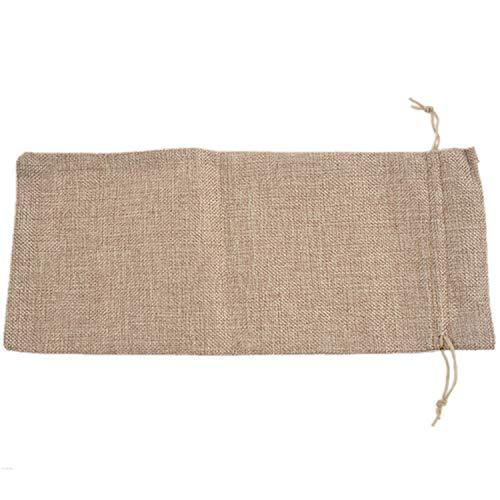 LilyJudy 10 bolsas de vino de yute, 14 x 6 1/4 pulgadas, bolsas de regalo para botella de vino de arpillera con cordón