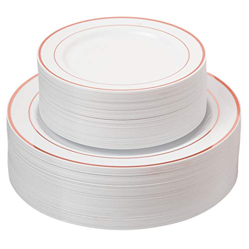 100 Disposable White Rose Gold Rimmed Heavy Duty Plastic Plates   50 Dinner Plates and 50 Dessert or Appetizer Plates   Premium Combo Disposable Dinnerware Set   Great for Parties or Weddings.