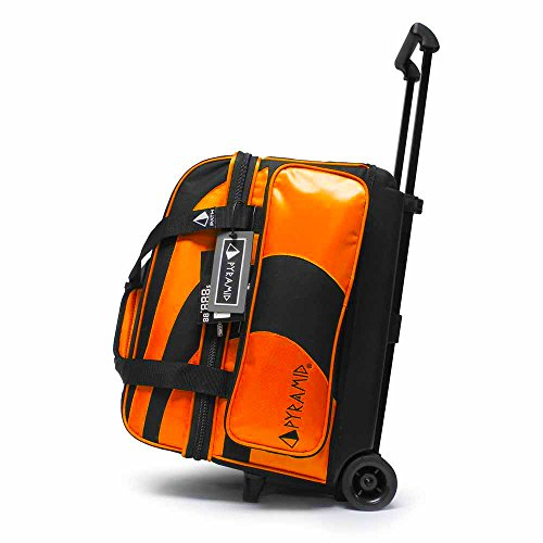 Pyramid Path Deluxe Double Roller with Oversized Accessory Pocket Bowling Bag (Black/Orange)