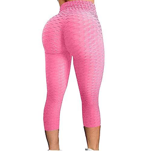 AFFGEQA Damen Yoga Hosen Slim Fit Gamaschen Leggings Keine Taschen haben Blasenmuster Vielzahl Von Farben Kurz geschnittene Hose Sportshorts Hose Mit Hoher Taille Heimhose Yoga Hosen