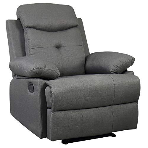 HOMCOM Fernsehsessel TV Sessel Relaxsessel Liegesessel Aufstehsessel max. 180°-Neigungswinkel Leinen dunkelgrau