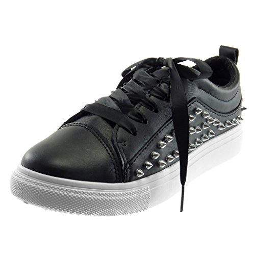 ANGKORLY - Scarpe Moda Sneaker Sporty Chic Tennis Donna Borchiati Metallico Tacco Tacco Piatto 3 CM - Nero R191 T 39