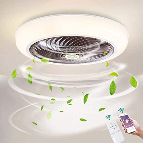HMMHHE Ventilatore a soffitto oscuramento 18,1 pollici con illuminazione LED 36W. Plafoniere dimmerabili con telecomando e APP, Fan Light per soggiorno Camera da letto Lampada da soffitto per ufficio,