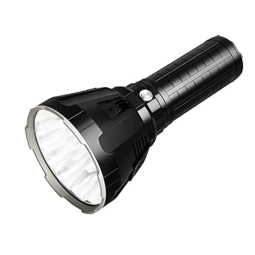 JPVNALZ LED Flashlight XHP70 Rechargeable Flashlight Display Charging (Body Color : Black, Emitting Color : Warm White)