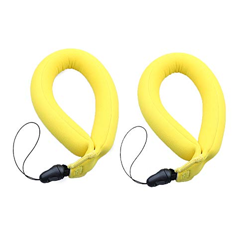 Pack of 2 Flash Waterproof Camera Float Floating Straps Bright Yellow