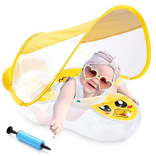 Boysea Baby Pool Float with Canopy & No-Flip Over Air Chamber, UPF50+ Sun Protection, Thicken 0.35mm Inflatable Swimming Float with Sponge Support Bottom,Infant Bath Float for 3-36 Months (Large)