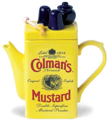 The Teapottery - Teiera in Ceramica Motivo Colman's Mustard, Misura Media, 1 Pezzo
