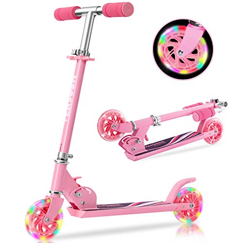 Tenboom Scooters for Kids Ages 612 2 LED Light Up Wheels Easy Folding Boys Girls Scooter with 3 Adjustable Handlebar and Rear Brake