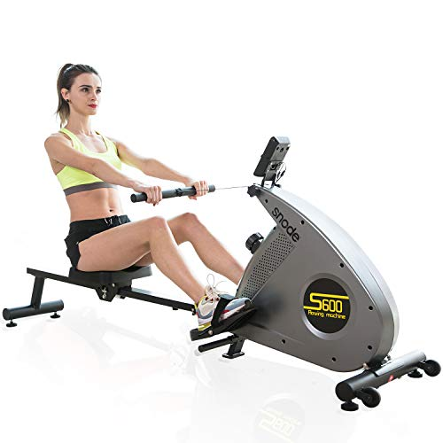 SNODE Bluetooth Magnetic Rowing Machine Rower with Bluetooth Heart Rate Monitor Compatible and Free APP, Adjustable Resistance, Soft Seat, Smooth Quiet Home Fitness Workout¡