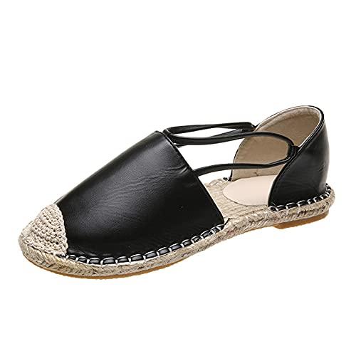 LQIAO Zapatos Planos clásicos sin Cordones para Mujer Mocasines Casuales de Lona de Alpargatas Simples con Punta de Casquillo y Plataforma
