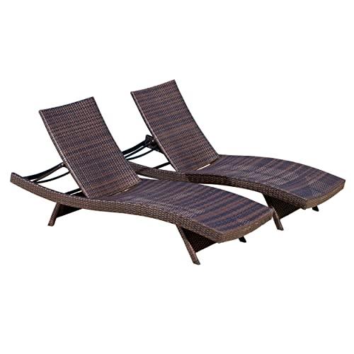 Big Sale Best Selling  Outdoor Adjustable Wicker Lounge, Multibrown, 2-Pack