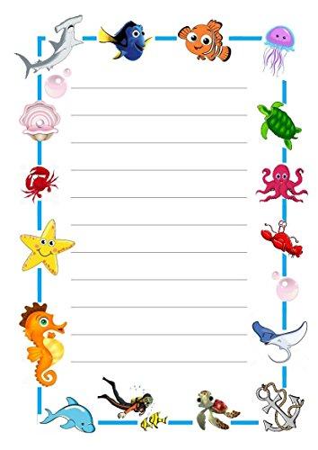 25 feuilles A5 sous la mer sur le thème papier à lettres – Dessin animé conçu – Papier ligné de petits Établissements