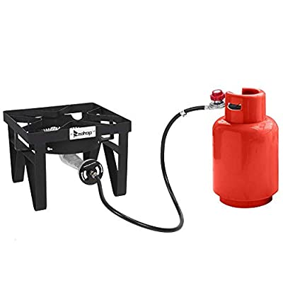 ROVSUN Outdoor Propane Burner for Cooking, 200,000BTU Gas Cooker with Stand for Camping & Home Brewing, Stove with 0-20 PSI Adjustable Regulator