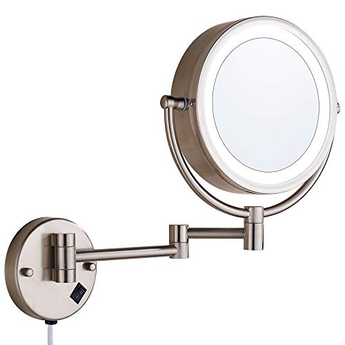 Cavoli Wall Mounted Makeup Mirror with LED Lighted 10x Magnification, 13' Extension Arm Magnifying Vanity Mirror,Brush Nickel Finish