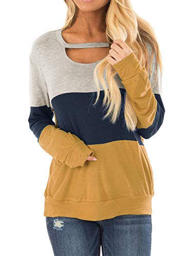 ♥ Super cute and special tunic. Most importantly, the color of this top is so perfect! I love it. ♥ Features: Color Block Top, Chest Cutout, Choker Neck, Circle Neckline, Long Sleeves, Loose Casual Style, Stretchy Knit Self. ♥ Occasion: Daily wear, v...