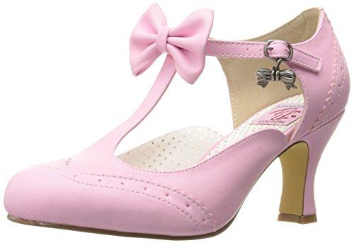 Pin Up Couture Flapper-11, Zapatos con Tacon y Tira Vertical Mujer, Piel sintética Rosa y Rosa, 40 EU