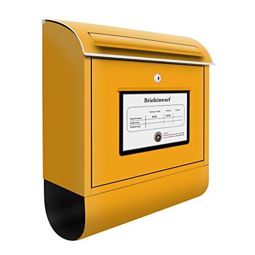Design Briefkasten Postkasten | Briefe Post Päckchen Sendung Gelb, Postkasten mit Zeitungsrolle, Wandbriefkasten, Mailbox, Letterbox, Briefkastenanlage, Dekorfolie