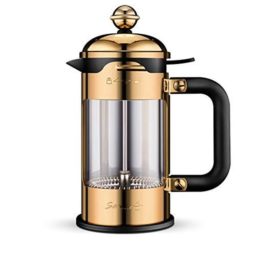 YVX Coffee Press Manual Coffee Machine Home 304 Stainless Steel Pressure Glass Tea Strainer Pot (Color: Gold, Size: 1500ml)