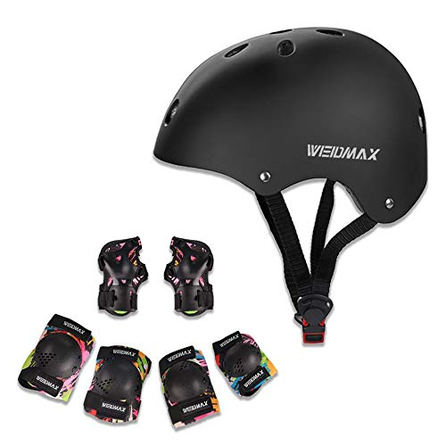 Kids Bike Helmet, WEIDMAX Child Knee & Elbow Pads and Wrist Guards 7-1 Adjustable 49-56cm Toddler Sport Protective Gear Set Children Helmets Safety Pads Set for Cycling Scooter Skateboard