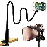 BESLIME Support de Tablette et Smartphone Pliable, Support Réglable en Col-de-Cygne Stand avec Bras Extensible pour Téléphone (Phone Holder|Black)