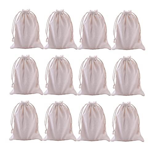 Wilany 12 sacchetti in tela bianca biodegradabili ed ecologici sacchetti di tela sacchetti regalo per conservare spezie/artigianato/sapone o filtrazione delle scorie/ammollo medicinali liquori