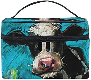 JOKEER Makeup Bag Oil Painting Cow Portable Travel Case Large Print Cosmetic Bag Organizer Compartments product image