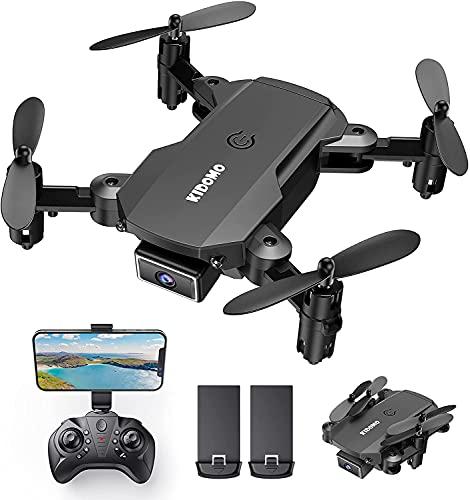 KIDOMO F02 Mini Drone Plegable con Cámara 1080P, RC Drones Helicopter Quadcopter para Niños Principiantes con Luces LED WiFi FPV Control Remoto, Modo sin Cabeza, Despegue y Aterrizaje con Una Tecla