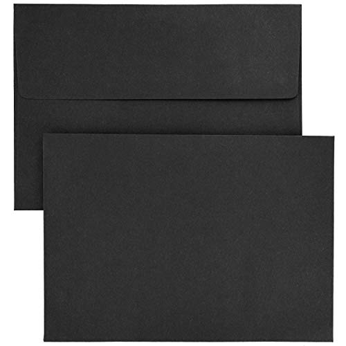 Juvale Black A7 Square Flap Envelopes for 5 x 7 Cards (5.25 x 7.25 in 50-Pk)