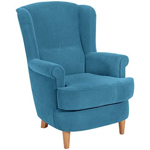 Max Winzer® Ohrensessel Kendra, petrol (blau), Velourstoff, Romantisch, Retro, Landhaus, 73 x 89 x 92 cm