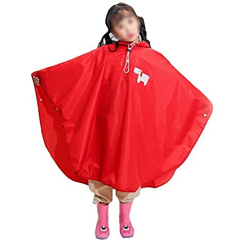 YQQMC Poncho impermeable con capucha para niños, resistente al agua, portátil, capa de lluvia para niños y niñas (color: rojo, tamaño: M)