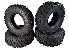 Excellent traction and braking, even in loose conditions. Side knobs help prevent sidewall punctures. Durable construction designed to handle rough terrain. High load capacity for larger ATVs. Non-directional tread pattern.