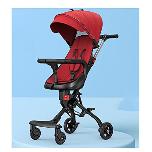 LOMJK Carritos y sillas de Paseo Cochecito, cochecitos de toldo a Prueba de Sol altablero de Dos vías, carruaje Plegable de bebé portátil Ligero Cuatro Rondas para niños Infantiles Bebé Sillas