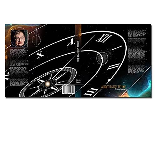 KYASDP Hawking HD Imprime l'affiche du Ciel Étoilé 'Une Brève Histoire du Temps' Livre Veste Anti-Poussière Décor De Chambre d'enfants-60X80Cm Pas De Cadre